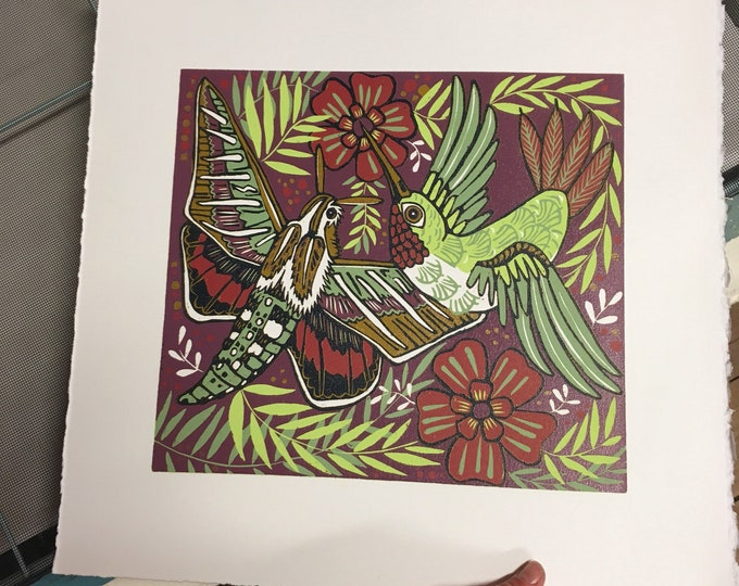 "6 month payment plan for ""Hummingbird Namesake"" original woodcut"