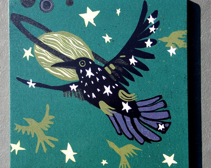 "Starling, Crow, outerspace, cosmos, print on wood, 6"" x 6"" square ready to hang, nursery decor, kitchen decor, bathroom art"
