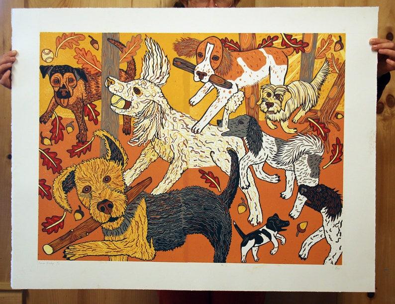 Dog Park Woodcut  image 0