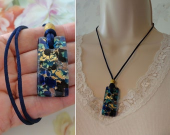 Murano Glass? Glass Spoon Pendant in Black with Glitter Gold Hung on a Ribbon and Cord Necklace Adjustable