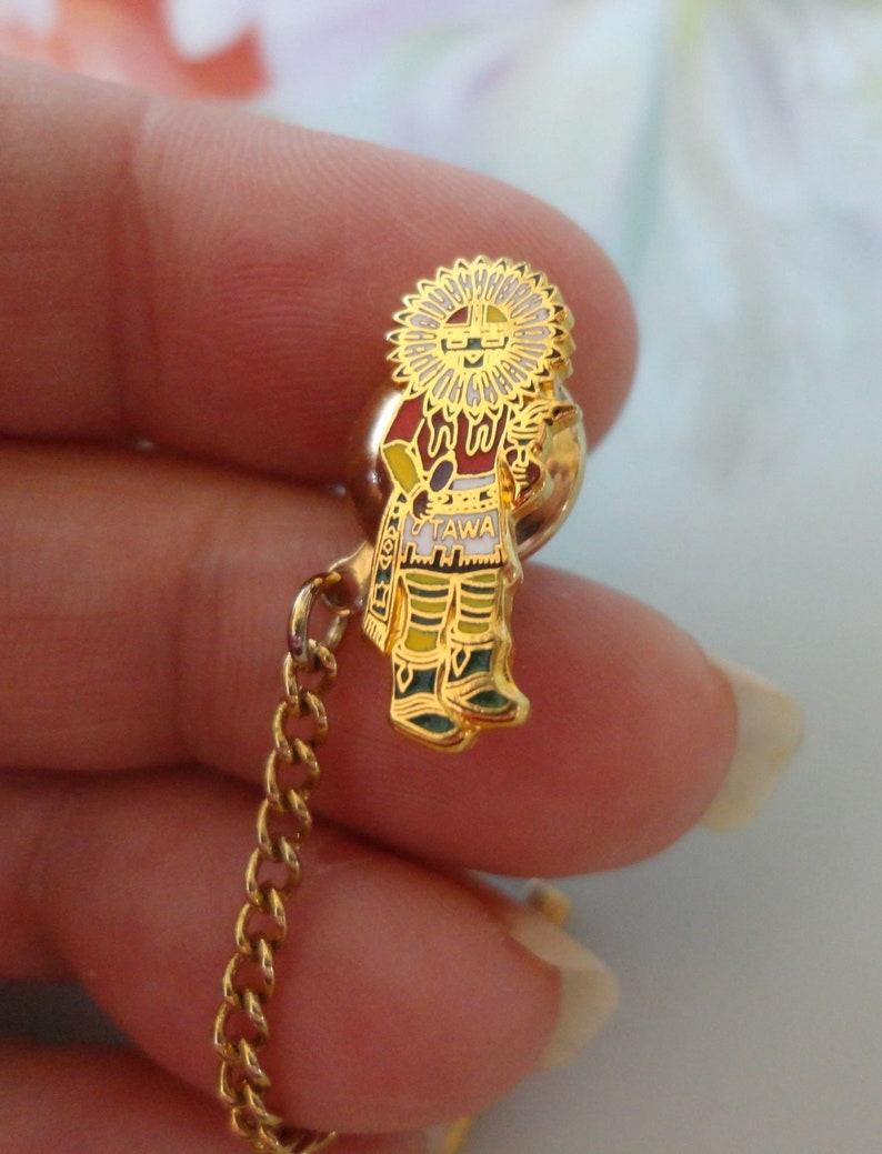 Vintage Native American Hopi Tawa Sun Kachina Doll Enamel Pinback Pin Chain Tie Tack Lapel Pin