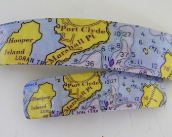 Port Clyde Maine French Barrette - St George, Maine - Mother Daughter gift - Mainemade - with Resin Coat
