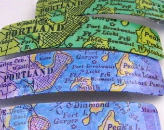 "Portland Maine Barrette 4.5""-Jumbo Clip-Vintage Chart Graphics-Casco Bay"