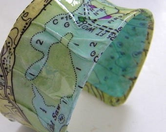 """Wellfleet Concave Chart Resin Cuff- 1.25"""" - Cape Cod Cuff Textured - Barnstable County"""
