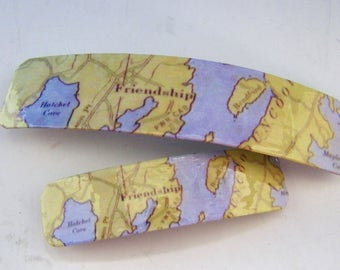 Friendship Maine French Barrette - Mother Daughter gift - Mainemade - with Resin Coat - Meduncook - Knox County Maine