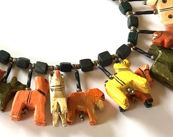 Whimsy Wooden Animals Necklace -25  inch