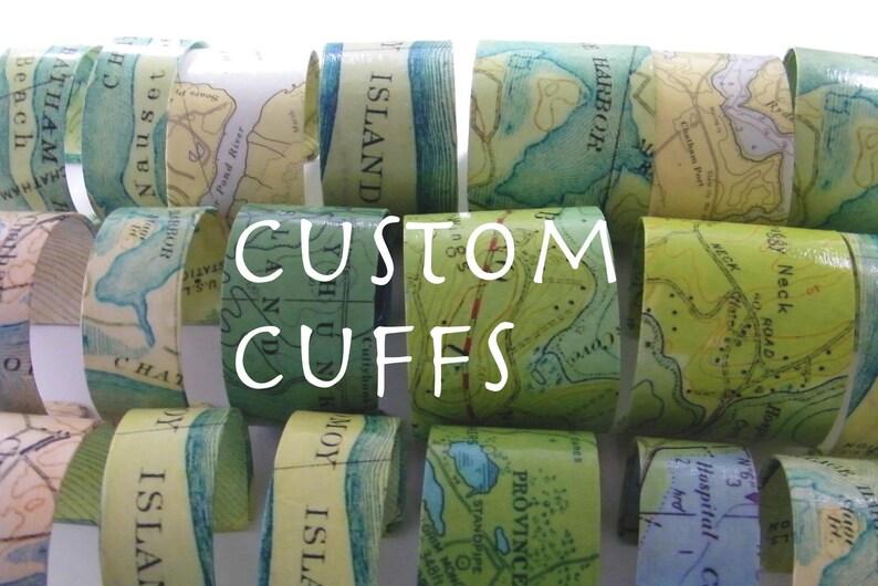 Custom Chart Map Cuff Bracelet image 0