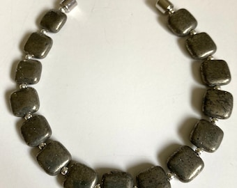Pyrite with Sterling Silver Bracelet- 3 sizes-Magnetic Close-Flat Bracelet-Fools' Gold-Neodymium-Rare Earth