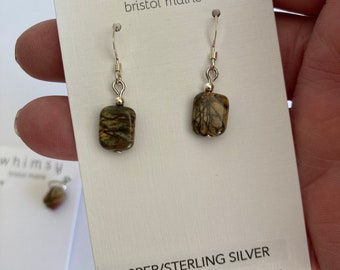 Red Creek Jasper Earrings on Sterling Silver-Picasso Jasper-Chalcedony Stone