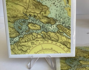 North Bath Maine Resined Tile Coaster-Kennebec River-Merrymeeting Bay-Burnt Jacket-West Chops Point