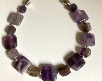 Dogtooth Amethyst with Sterling Silver Bracelet-two sizes-Magnetic Close-Flat Bracelet-Neodymium-Rare Earth