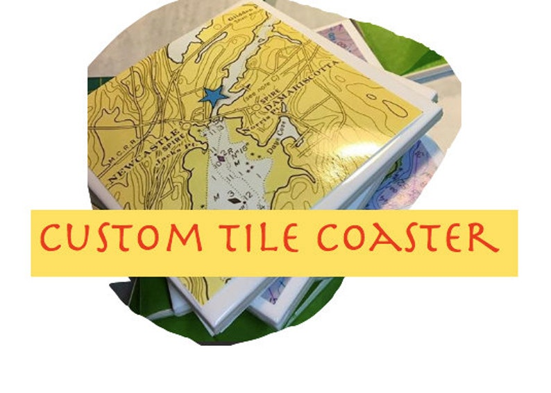 Custom Tile Map Chart Coaster Full Resin Top with Cork Backing- Portrait -  Charts - Maps New England East Coast