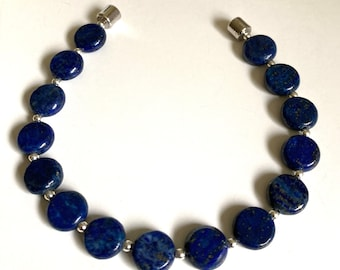 """Lapis Lazuli with Sterling Silver Bracelet-7.25""""  or 7.75"""" -Magnetic Close-Flat Bracelet-10mm Coin-Neodymium Rare Earth"""