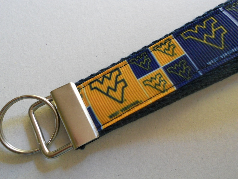 West Virginia University  Wristlet Key Fob WVU team logo