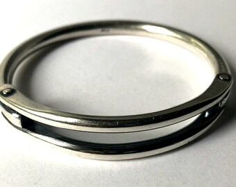 thick silver bangle unisex bangle industrial sterling silver bangle bracelet with rivets medium size bangle
