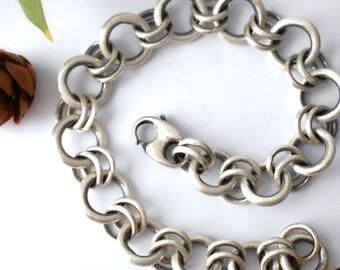 chunky chain linked bracelet, sterling silver, womens bracelet, artisan bracelet, MADE TO ORDER