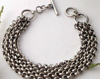chunky chain bracelet, sterling silver bracelet, multi strand chain bracelet, artisan bracelet, everyday bracelet, silver chain bracelet