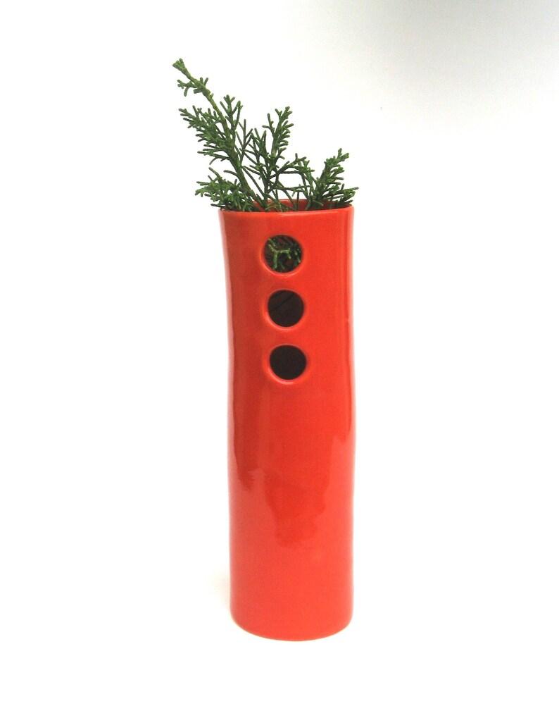 3 holes coral red  vessel   .. whimsical hand built porcelain vase  ..