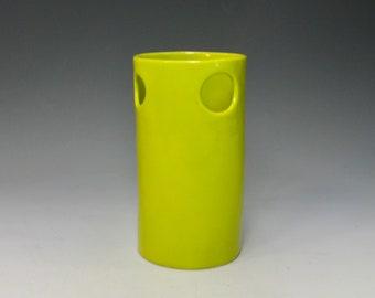 whimsical hand built porcelain vase  ...  chartreuse vessel   ...   3 holes   ...   mid century modern