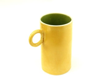 festive hand built porcelain cup ...  yellow and kiwi green