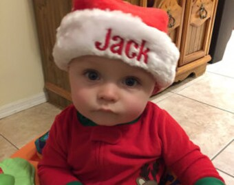 INFANT size Santa hat. Personalized infant Santa Hat. Monogrammed Santa Hat.  Fast Shipping. eadb1258cc9