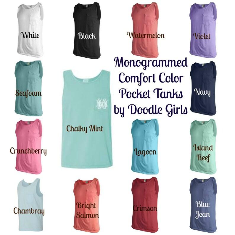 0bb615519d Monogrammed Comfort Color Pocket Tank. Monogrammed Pocket | Etsy