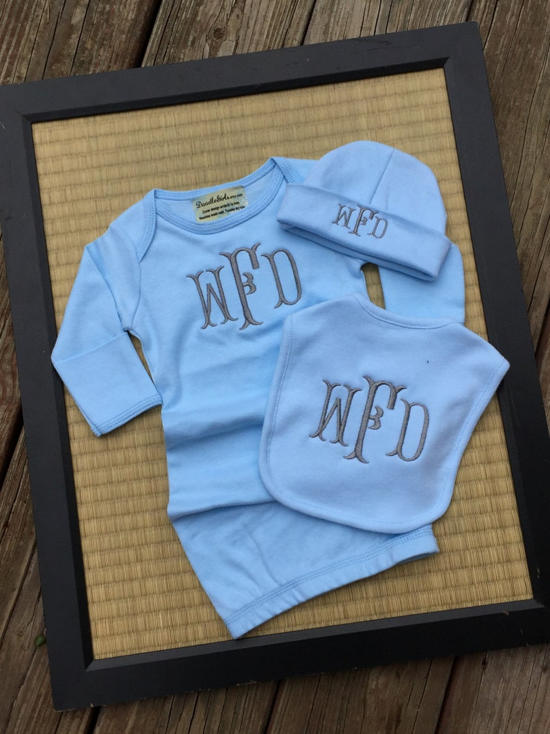 5719a1ed707 Monogrammed baby boy or girl gift set. Newborn Gown Set. 3