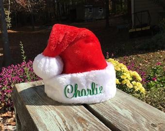 Toddler / Kids size Santa hat.  Personalized Toddler Santa Hat.  Kids Santa Hat.  Lots of font choices.  Traditional Santa Hat.