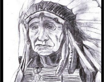 Native American Hand Drawn Pencil Portrait (print)
