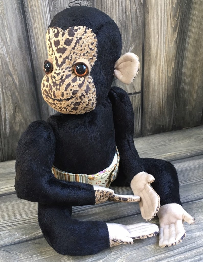 Baby chimp jointed artist plush chimpanzee minky black fur 15 image 0