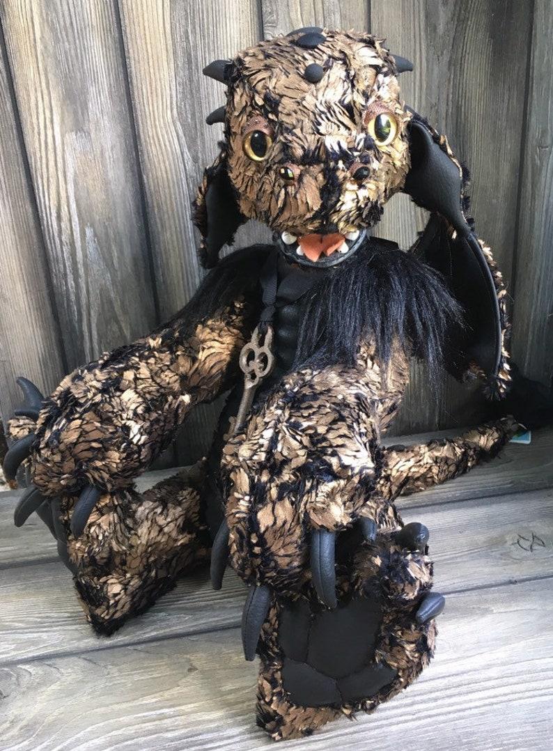 Artist teddy bear golden DRAGON 24 inch by Karen Knapp of image 0