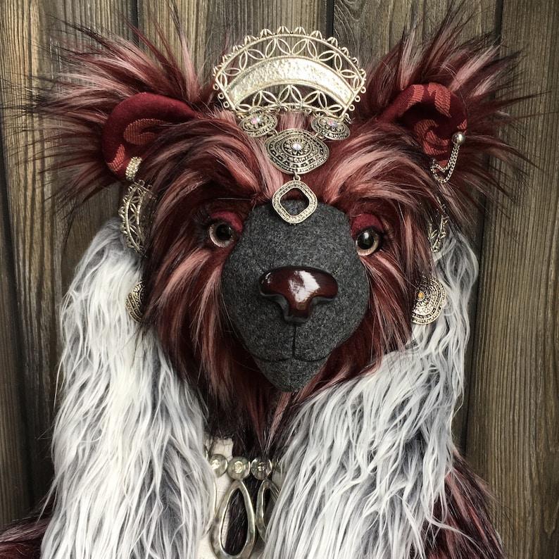 Araminta artist teddy bear 24 long burgundy fur jewels image 0