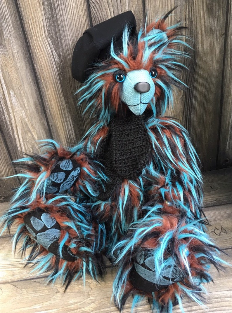 Nero jointed spiked fur Artist teddy bear 20inch by Karen image 0