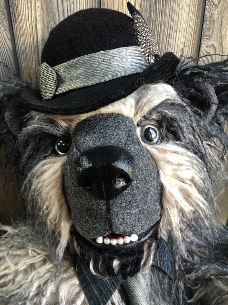 Mr. Carson  artist teddy bear 24 ombre gray to black yak image 0