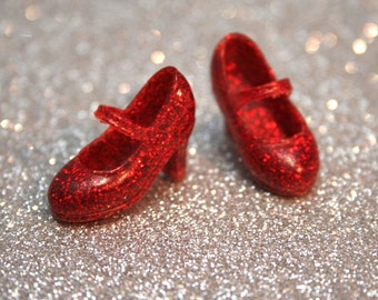 Blythe Red with fine Red Glitter High Heeled Mary Jane shoes
