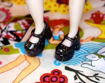 Blythe Black with fine Gold Glitter Platform Mary Jane Doll shoes