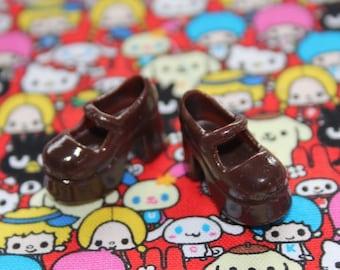 Blythe Dark Chocolate Brown Platform Mary Jane Doll shoes