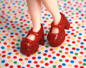 Blythe Red with Red glitter Platform Mary Jane shoes