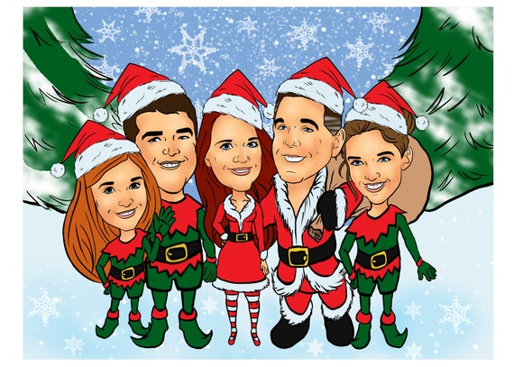 Christmas Family Portraits.Christmas Family Portrait Caricature Custom Digital Christmas Card Personalized Card Husband Gift Christmas Vacation Wife Gift