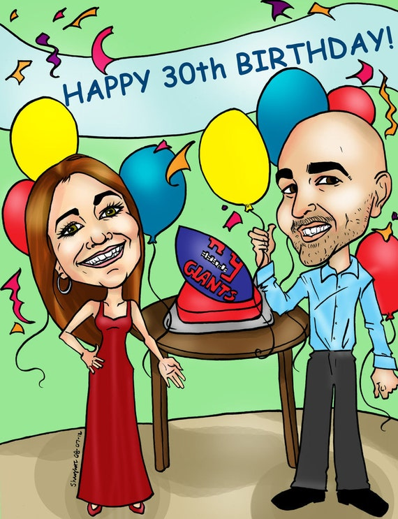 Personalized Birthday Digital Caricature By Email Custom Etsy