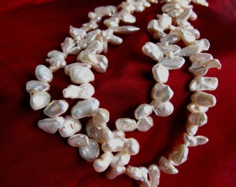Sale Keshi Pearl Double Strand Necklace,Exotic Natural High Luster Organic Baroque Cultured Pearl Necklace,One of a Kind Jewelry Trends