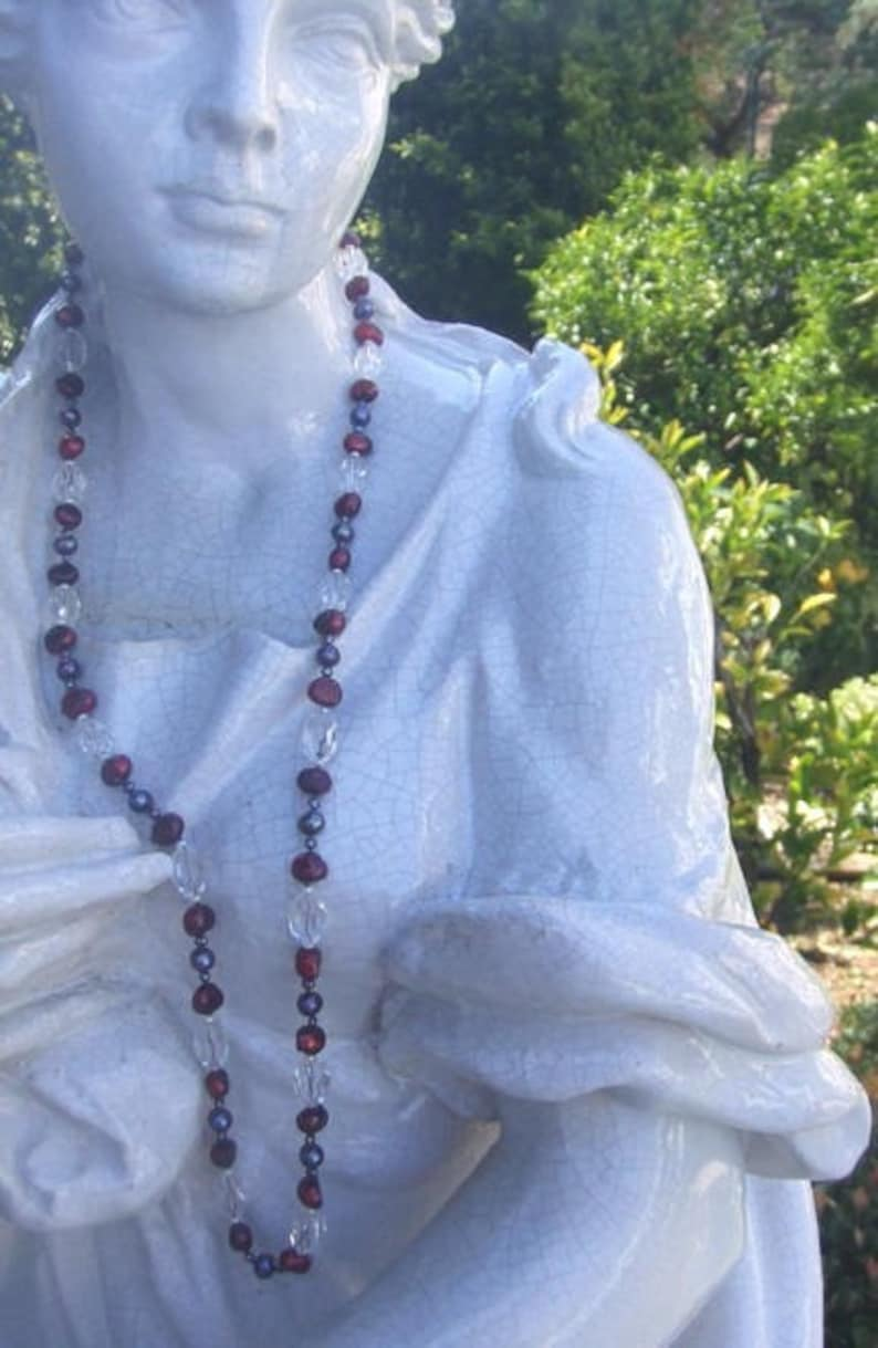 SALE Colorful Black Pearl Burgandy Pearl Long Strand  Necklace,Bold Crystal and Cranberry Red Pearl Necklace,Baroque Cultured Pearl Necklace