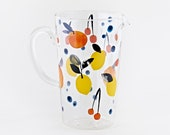 NEW! Fantastical Fruits Glass Pitcher by Seattle Artist Misha Zadeh, watercolor lemons, cherries, oranges, blueberries, modern farmhouse