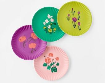 Les Fleurs, Floral Melamine Plate Sets by Misha Zadeh, featuring brush pen artwork of geraniums, mums, cyclamen, and crocus flowers