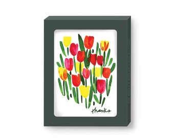 Colorful Spring Tulips Watercolor Thank You Note Cards by Seattle artist Misha Zadeh, red pink yellow Tulip floral boxed cards