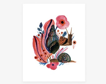New! Garden Friends & Foes, archival print reproduction of a snail, shells, poppies, floral illustration by Seattle Artist Misha Zadeh