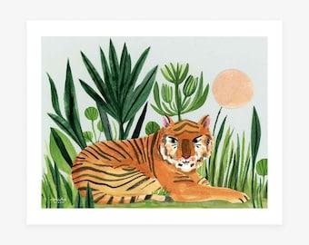 New! Jungle Tiger Giclee Art Print by Misha Zadeh, Watercolor, Mixed Media