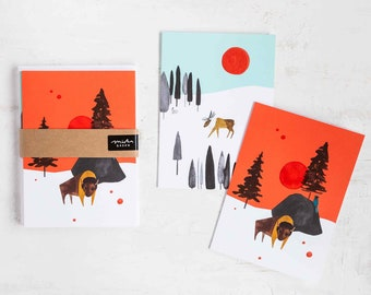 Wild World Bison and Caribou Blank Holiday Note Cards by Seattle artist Misha Zadeh, Canadian Taiga and Yellowstone Forest inspired cards