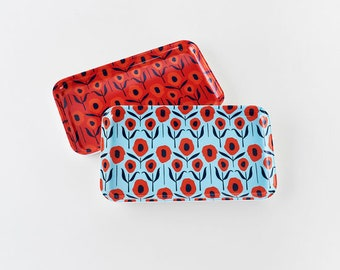 Small Mod Country Poppies Melamine tray by Misha Zadeh, Catchall Tray, Red and Blue Poppies