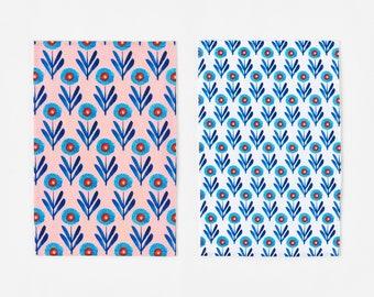 New! Blue Poppies Tea Towel, modern Scandinavian style screen printed dish cloths by Misha Zadeh
